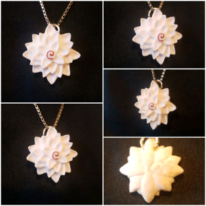 Number 1 Lotus Pendant made from Naturally Shed Moose Antler