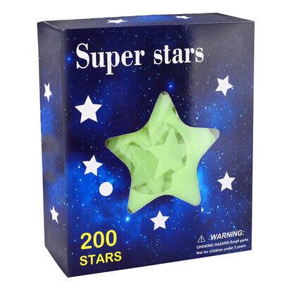 200Pcs Stars Glow In The Dark Stickers Wall Decal w/ Bonus Moon