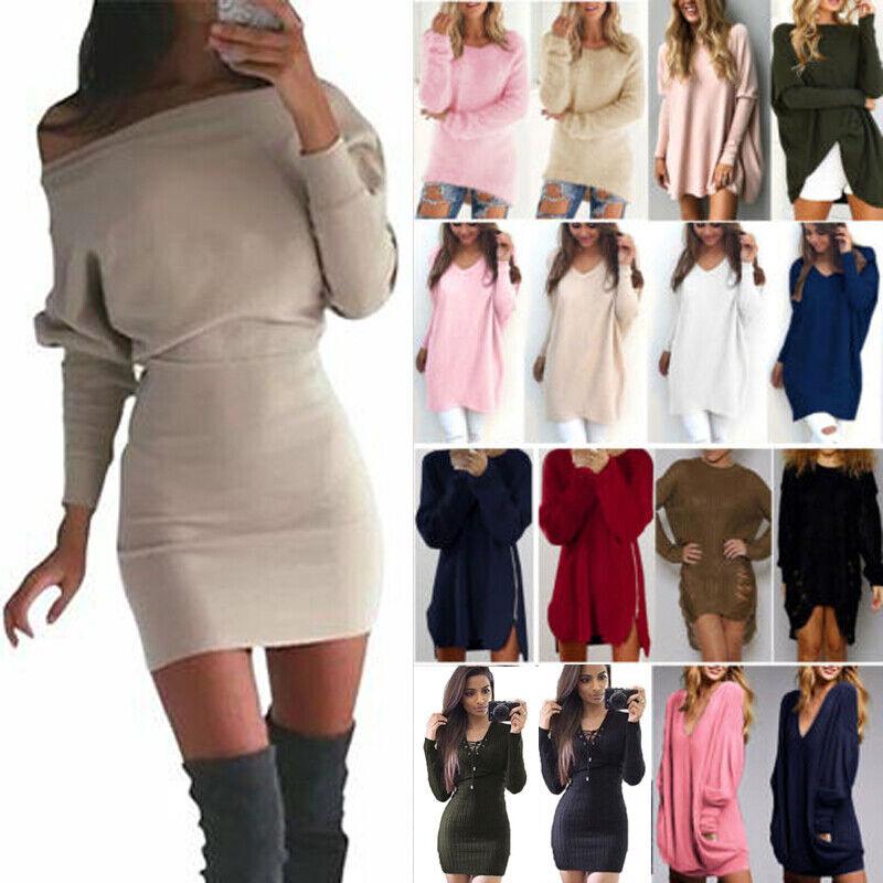 Damen Stickpullover Langarm Pullover Sweatshirt Longtop Lose Jumper Minikleid 40