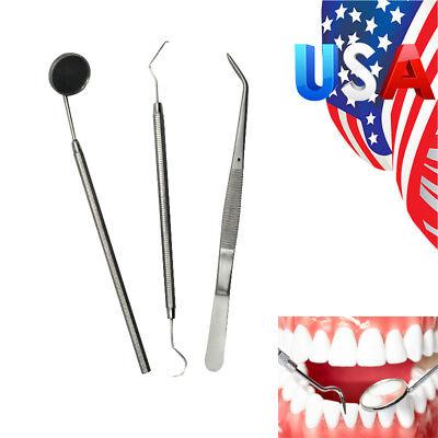 Us 3pcs Instruments Basic Dental Set Oral Mirror Explorer C. Plier Stainless Kit