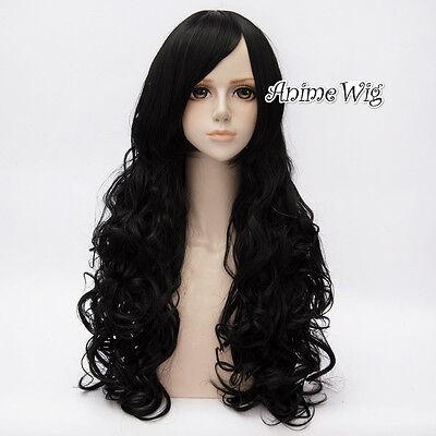 Schwarz Gelockt Curly Gewellt Harajuku lolita Haar Wig Perücke Halloween Party