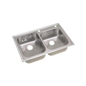 """Magna Drop-in Stainless Steel 33"""" 2-Hole Kitchen Sink"""