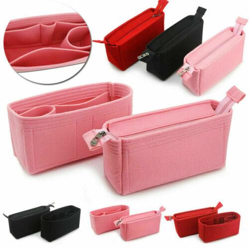 2X Felt Insert Purse Organizer Storage Makeup Bag In Bag For
