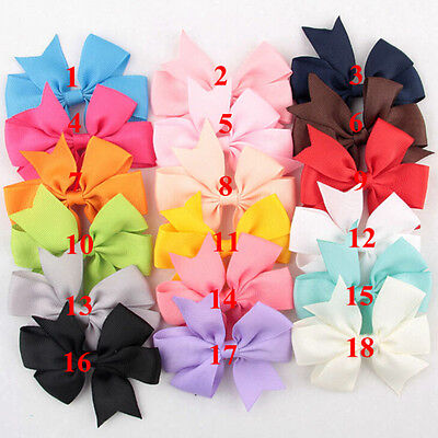 18 Pcs/Bag Hair Bows Kids Cloth Ribbons Boutique Lovely No C