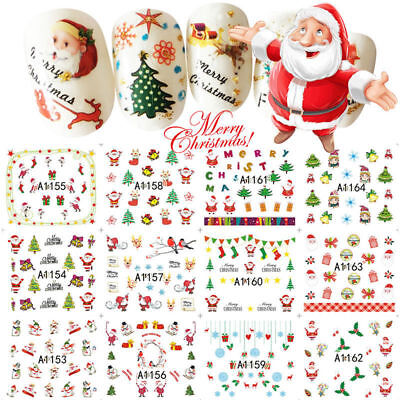 2Sheets Christmas Nail Art Stickers Snowflakes&Cute Snowmen Decal Water Transfer](Cute Snowflakes)