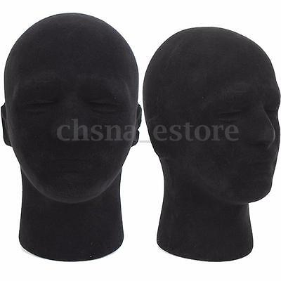Male Styrofoam Foam Mannequin Manikin Head Model Glass Cap Wigs Display Stand US