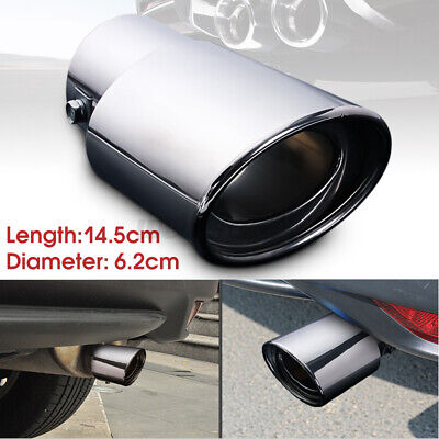 Universal Car Rear Exhaust Tip End Straight Tail Pipe Cover Trim Chrome 62mm