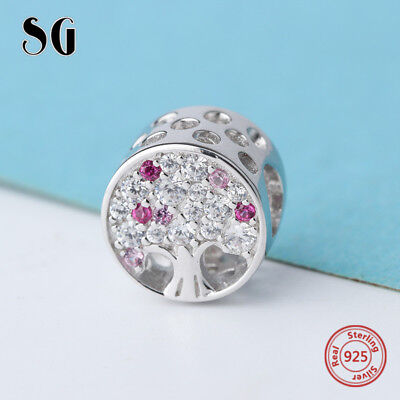925 Silver Tree Of Life Beads CZ Charms DIY Jewelry Xmas Gifts For Her Women Mum ()