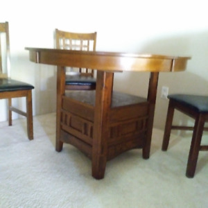 "Dining Table Oval 42""/60"" and 4 Chairs With Base Storage/Display"