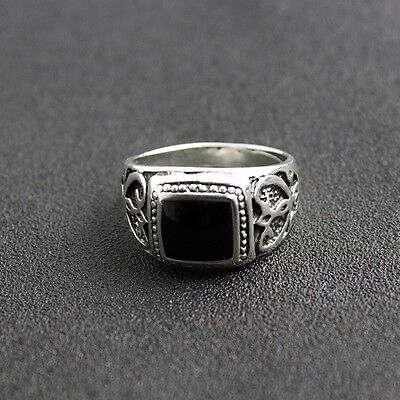 Natural Black Onyx Sterling Silver 925 Handmade Stone Size 10 Mens Ring Gothic