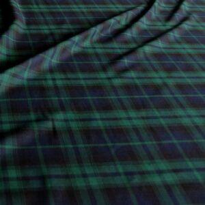 blau grün Schotten Karo Tartan Kleiderstoff Deko-Stoff Meterware weich fallend