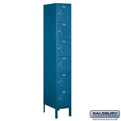 Standard Metal Locker Six Tier Box Style 1 Wide 6 High 18 Deep Blue 66168bl-u