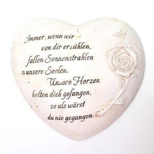 Trauerherz mit Rose und Spruch ca. 20cm x 19cm x 6cm Herz Gedenk