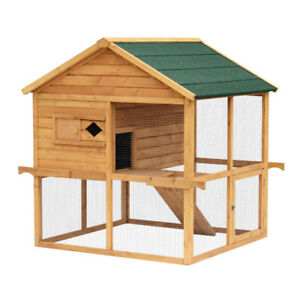 Poultry Cage Coop w/ Overhead Nesting Box / Rabbit Cage hutch