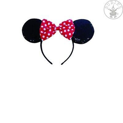 Rubie`s Minnie Maus Pailletten Haarreif Ohren rot Schleife - Minnie Pailletten Ohren