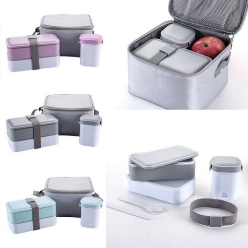 Sealed Bento Lunch Box Set with Water Mug Cup & Insulated Carry Lunch Tote Bag
