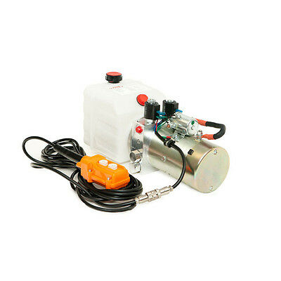 12 Volt Hydraulic Pump For Dump Trailer - 4 Quart Poly - Double Acting