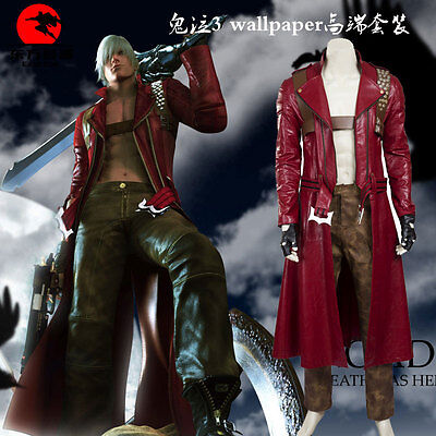 Devil May Cry III 3 Dante Cosplay Costume Leather Outfit Custom Made Full - Leather Devil Costume