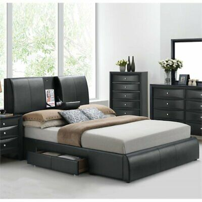 Bowery Hill Upholstered Queen Panel Bed with Storage in Blac