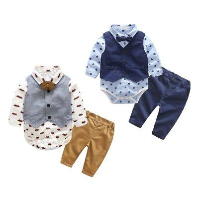 Kleinkind Baby Junge 3Pcs Outfit Weste + Strampler Tops + Hosen Kleidung 6-24M