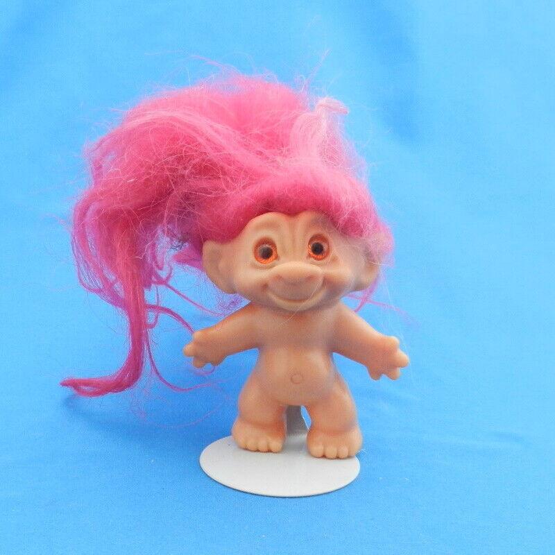 Vintage Dam Things Scandia House Troll Doll FUSHIA Hair SPIRAL ORANGE Eyes 1960s