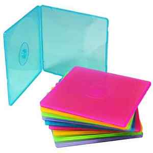 PACK OF 10 COLOURED CD SHELL CASES- SUPER THIN 5mm