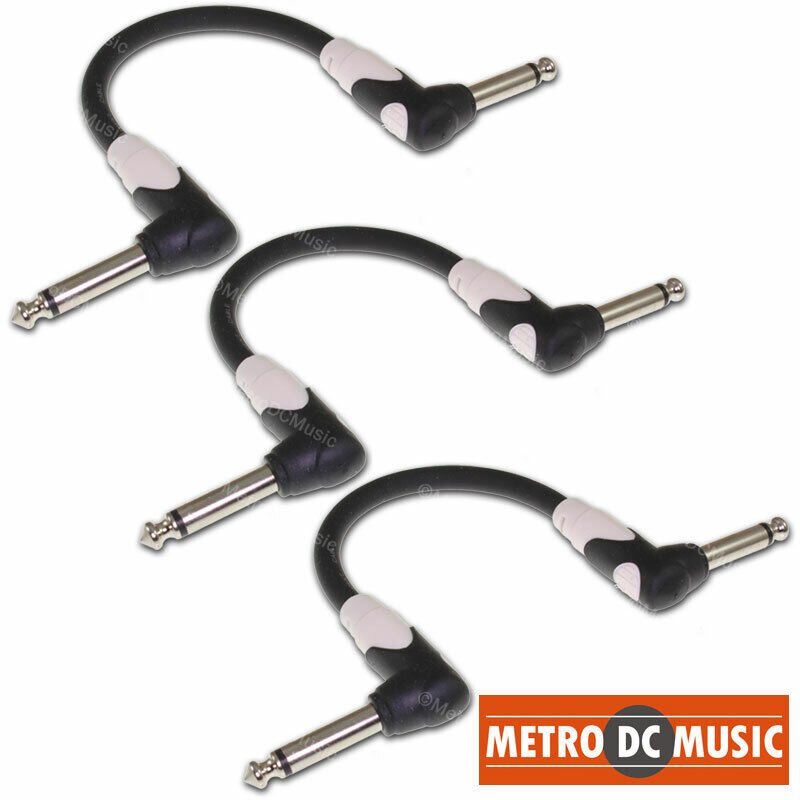 3-Pack Kirlin LightGear 6 inch 1/4 Right-Angle Guitar Pedal Patch Cable Cord NEW