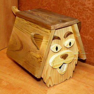 Wood Cat-Looking Birdhouse with Whiskers, Ears & Tail (New)
