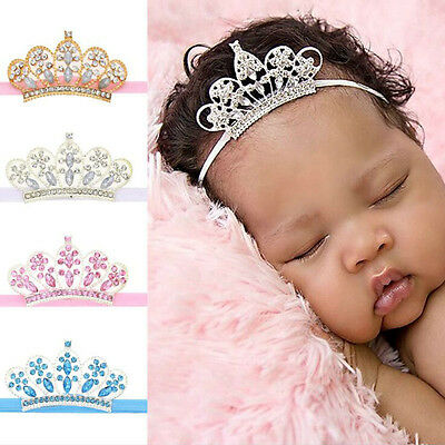 Newborn Baby Girls Rhinestone Princess Crown Tiara Hairband Headband Prop - Baby Tiara