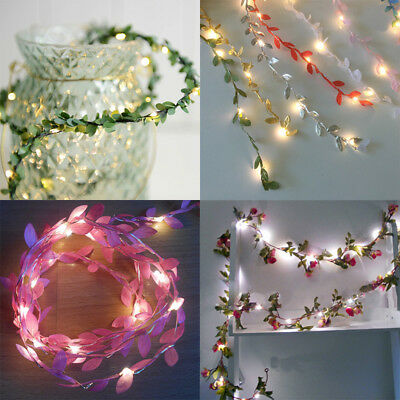 Flower Leaves LED String Fairy Lights Battery Operated Lamp Christmas Home Decor