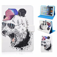 "Angry Panda 7.9"" Leather Flip Folio Smart Cover Case For iPad Mi"