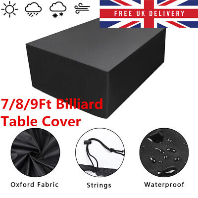 7/8/9 Ft Waterproof Duty Snooker Billiard Table Cover Black Polyester Fabric