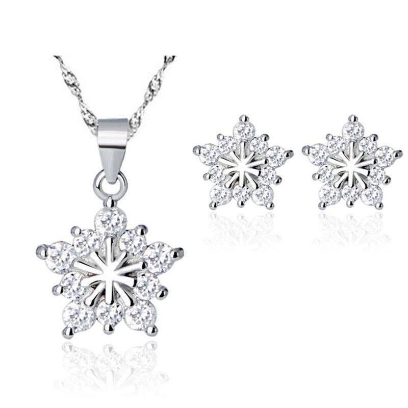 Jewellery - 925 Sterling Silver Snowflake Pendant Stud Earrings Necklace Womens Jewellery UK