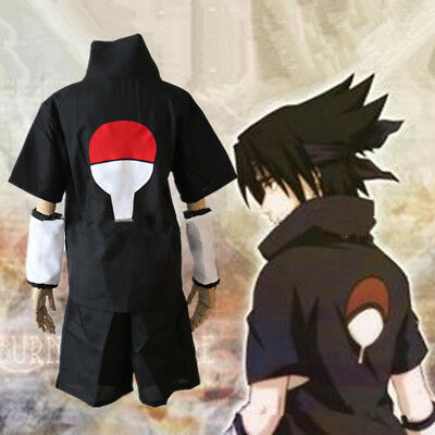 Naruto Uchiha Sasuke Summer Outfits Loose T-shirt Pants Anime Cosplay Costumes ](Sasuke Costumes)