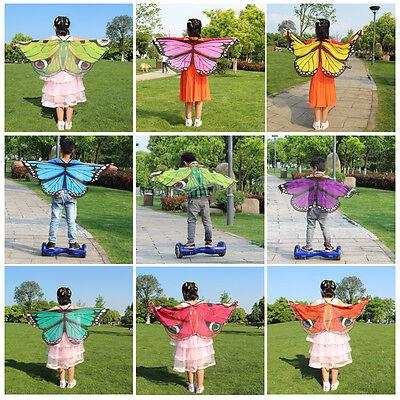 Kleine Fee Kleinkind Kostüme (Kleinkinder Butterfly Bauch Fee Angel Tanz Wings Bunt Kind Baby Kostüm Nett)