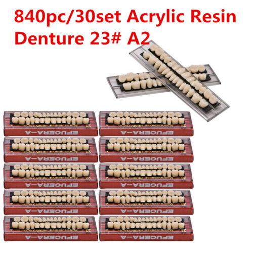 US 840Pc Shade 23#A2 Dental Denture Acrylic Resin Full Set Teeth Upper Lower