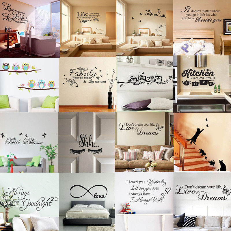 Home Decoration - Quote Wall Stickers Vinyl Art Home Room DIY Decal Decor Bedroom Removable Mural