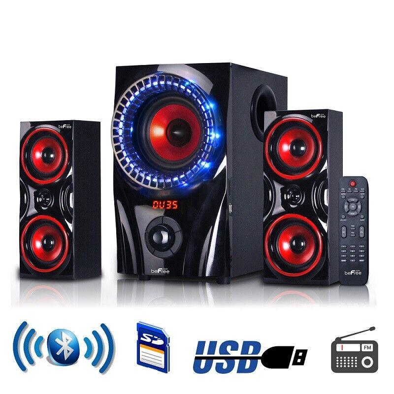 beFree Sound 2.1 Channel Multimedia Entertainment Shelf Blue