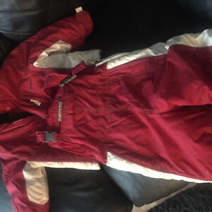 Red and white Oshkosh snow suit