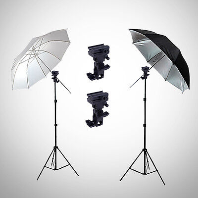 Photo Studio Flash Umbrella Light Lighting Stand Speedlite Mount B Bracket Kit
