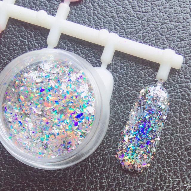 Laser Nail Art Glitter Sheet Dust for UV GEL Acrylic Powder Sequins ...