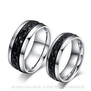 ... Bague Anneau Argent Noir Mariage Fiançaille Wedding Couple Ring Acier