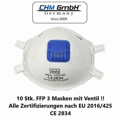 CHM GmbH 10 Stück FFP 3 Mundschutz Maske mit Ventil Gesichtsmaske Top Qualität !