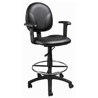 Boss Black Caressoft Mid Back Drafting Chair Stool
