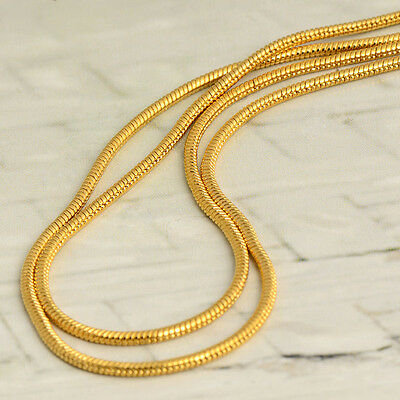 23.6 inches Gold Filled Long Herringbone Chain Link snake Necklace 14k Yellow