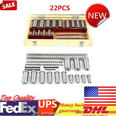 22pc Keyway Broach Kit Metric Size Metalworking Tool Collared Bushing Shim Set