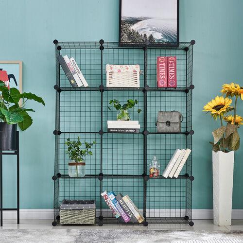 12-Cube Shelves Organizer Metal Wire Cube Storage Bins DIY Closet Cabinet Black