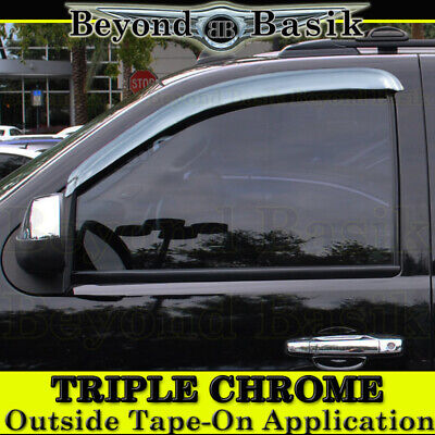 2007-2013 Chevy Silverado 2pc FRONT ONLY Chrome Door Vent Visors Side Rain Guard
