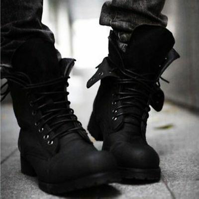 Mens Boys US Best Sell Lace-Up Black Retro Military Combat Boots Shoes Size 44