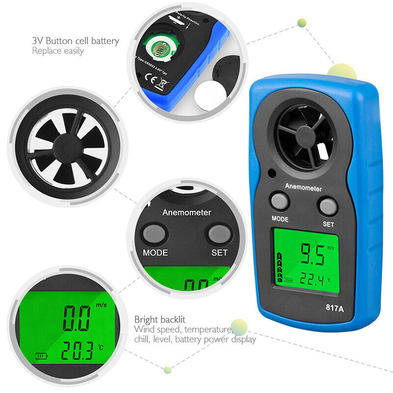 LCD Digital Thermometer Wind Chill Speed Gauge Meter Handheld Anemometer AirFlow